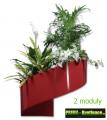 Květináč Modul'Green® červený – 2 moduly na stěnu