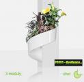 Květináč Modul'Green® bílý – 3 moduly na roh (sloup)