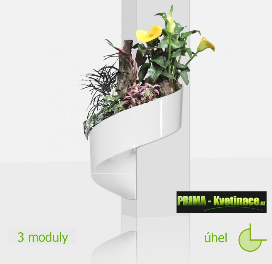 Green Turn unikátní, francouzký, designový, moderní květináč na stěnu, zelená galerie, živé, zelené obrazy na stěnu, zelené stěny, nástěnný zelený obrázek