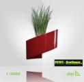 Designový květináč na zeď Modul'Green® červený – 1 modul na vnitřní roh