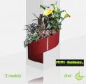 Květináč Modul'Green® červený – 3 moduly na roh (sloup)