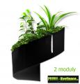 Květináč Modul'Green® černý – 2 moduly na stěnu