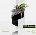 Květináč Modul'Green® černý – 3 moduly na roh (sloup)