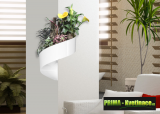 Prima-květináče unikátní, francouzký, designový, moderní květináč na stěnu, zelená galerie, živé, zelené obrazy na stěnu, zelené stěny, nástěnný zelený obrázek Green Turn samozavlažovací plastové venkovní závěsné