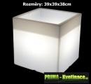 Svítící květináč Christine square 39x39x38cm bílý