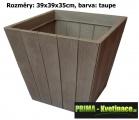 Plastový květináč Holz – imitace dřevěných latí 39x39x35cm taupe