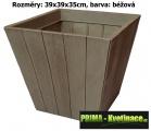 Plastový květináč Holz – imitace dřevěných latí 39x39x35cm béžová