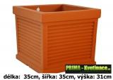 Výprodej plastový truhlík Marco Stripe 35x35x31cm terakota