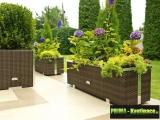 Prima-květináče velký mrazuvzdorný truhlík z umělého ratanu, venkovní ratanový květináč na terasu, truhlíky z umělého ratanu samozavlažovací plastové venkovní závěsné