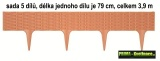 Trávníkový obrubník, palisáda 3,9m IBRA světle hnědá, ratanový vzor