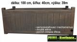 Samozavlažovací velký plastový truhlík Eda 100x40x39cm dřevo
