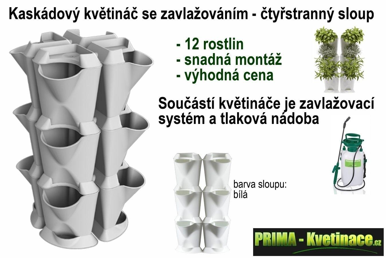 Prima-květináče vertikální květináč, kaskádový sloup Minigarden samozavlažovací plastové venkovní závěsné
