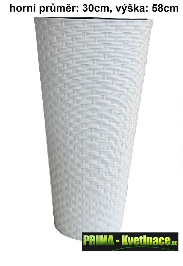 Prima-květináče Plastový kulatý obal na květináče Rattana – dekorativní vysoký obal na květináče z umělého ratanu samozavlažovací plastové venkovní závěsné